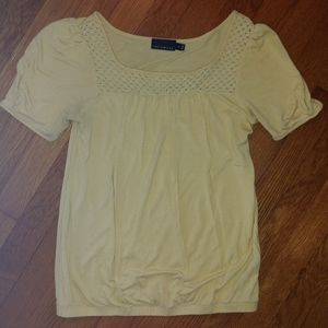 Limited Banded Bottom Top with Crochet Neckline
